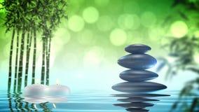 Πέτρες της Zen με το βρόχο μπαμπού και νερού απόθεμα βίντεο