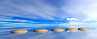 Πέτρες της Zen σε ένα υπόβαθρο μπλε ουρανού και θάλασσας τρισδιάστατη απεικόνιση Στοκ εικόνα με δικαίωμα ελεύθερης χρήσης