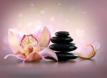 Πέτρες SPA και Orchid λουλούδι Στοκ εικόνα με δικαίωμα ελεύθερης χρήσης