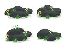 Πέτρες SPA με το λουλούδι, τη χλόη, το φύλλο και το λουλούδι ελεύθερη απεικόνιση δικαιώματος