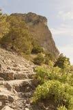 Πέτρινα βήματα στο ίχνος πεζοπορίας, που τοποθετούνται mountainside μεταξύ Στοκ εικόνα με δικαίωμα ελεύθερης χρήσης