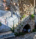 Πέτρινα σκαλοπάτια, παλαιό σπίτι στην Ιερουσαλήμ Στοκ φωτογραφίες με δικαίωμα ελεύθερης χρήσης