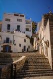 Πέτρινα σκαλοπάτια στην πόλη Ibiza Στοκ εικόνες με δικαίωμα ελεύθερης χρήσης
