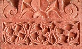 Πέτρινες γλυπτικές στον τοίχο σε Fatehpur Sikri στοκ φωτογραφία με δικαίωμα ελεύθερης χρήσης