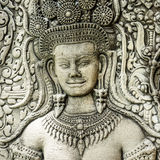 Πέτρινη γλυπτική σε Angkor Wat, Καμπότζη Στοκ Εικόνες