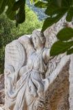 Πέτρινη γλυπτική της ελληνικής θεάς Nike, στον παλαιό ελληνικό, πιό πρώην Ρωμαίο, πόλη Ephesus Στοκ Φωτογραφίες