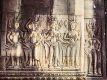 Πέτρινη γλυπτική των αγγέλων ή Apsara σε Angkor Wat, Καμπότζη Στοκ Εικόνες