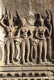 Πέτρινη γλυπτική χορευτών Apsara, στην Καμπότζη Στοκ Φωτογραφία