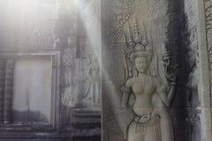 Πέτρινη γλυπτική χορευτών Apsara, Angkor Wat, Καμπότζη Στοκ Εικόνες