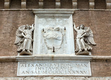 Πέτρινη επιγραφή πιάτων στον Άγιο Angelo Castle στη Ρώμη Στοκ εικόνα με δικαίωμα ελεύθερης χρήσης