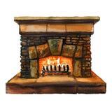 Πέτρινη εστία εγχώριων οικογενειών τούβλων με τη φλόγα, δάπεδο τζακιού με το κάψιμο της πυρκαγιάς, απεικόνιση watercolor διανυσματική απεικόνιση