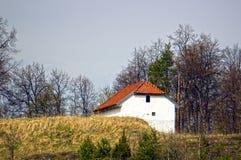 Πέτρινη καμπίνα στα ξύλα Στοκ Εικόνες