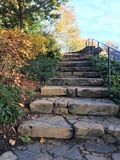 Πέτρινη σκάλα σε ένα πάρκο που καταλήγει σε μια άποψη φυλλώματος πτώσης στοκ εικόνα με δικαίωμα ελεύθερης χρήσης