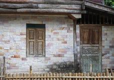 Πέτρινη σύσταση τοίχων του σπιτιού στο chiangmai Tha του χωριού επαρχίας Στοκ Φωτογραφία