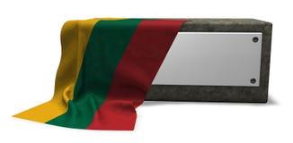 Πέτρινη υποδοχή με το κενές σημάδι και τη σημαία της Λιθουανίας διανυσματική απεικόνιση