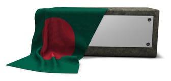 Πέτρινη υποδοχή με το κενές σημάδι και τη σημαία του Μπαγκλαντές ελεύθερη απεικόνιση δικαιώματος