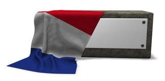 Πέτρινη υποδοχή με το κενές σημάδι και τη σημαία της Γαλλίας διανυσματική απεικόνιση