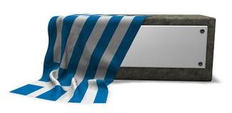 Πέτρινη υποδοχή με το κενές σημάδι και τη σημαία της Ελλάδας ελεύθερη απεικόνιση δικαιώματος