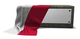 Πέτρινη υποδοχή με το κενές σημάδι και τη σημαία της Πολωνίας διανυσματική απεικόνιση
