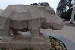 Πέτρινη χάραξη ρινόκερος-Stone Στοκ Εικόνα