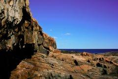 Πέτρινη δύσκολη ακτή στο εθνικό πάρκο Acadia Στοκ φωτογραφία με δικαίωμα ελεύθερης χρήσης