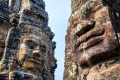 Πέτρινοι τοιχογραφίες και ναός Angkor Thom Bayon αγαλμάτων Angkor Wat Στοκ Εικόνα
