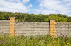 Πέτρινος τοίχος μεταξύ της χλόης στοκ εικόνες με δικαίωμα ελεύθερης χρήσης