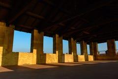 Πέτρινος τοίχος του κάστρου Η κορυφή του fortressl, εσωτερική άποψη Ιταλία, Angera Στοκ Εικόνες