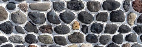 Πέτρινος τοίχος υποβάθρου των στρογγυλών πετρών στοκ φωτογραφίες