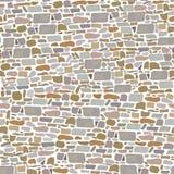 Πέτρινος τοίχος φραγμών, άνευ ραφής σχέδιο Υπόβαθρο φιαγμένο από άγρια τούβλα γκρίζος, κόκκινος, άμμος, κίτρινος, καφετιά, Στοκ Εικόνες