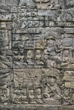 Πέτρινος τοίχος Mortarless ανακούφισης Bas Angkor Στοκ Εικόνες