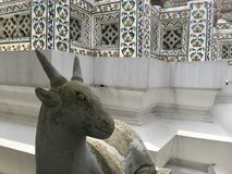 Πέτρινο άγαλμα μιας αίγας σε Wat Arun - ναός της Dawn Στοκ Φωτογραφίες
