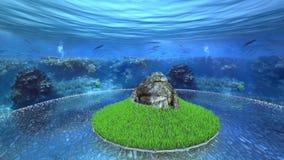 Πέτρινο βουνό που περιβάλλεται από τη χλόη κάτω από τον ωκεανό απόθεμα βίντεο