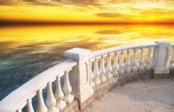 Πέτρινο μπαλκόνι στοκ εικόνες