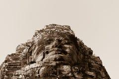 Πέτρινο πρόσωπο στον αρχαίο ναό Bayon, Angkor στην Καμπότζη Στοκ φωτογραφία με δικαίωμα ελεύθερης χρήσης