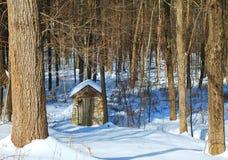 Πέτρινο σπίτι στο χιόνι ξύλων στοκ φωτογραφίες