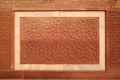 Πέτρινο σχέδιο σε έναν τοίχο στο κόκκινο οχυρό, Agra Στοκ Εικόνα