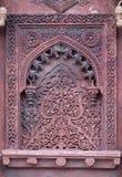 Πέτρινο σχέδιο σε έναν τοίχο στο κόκκινο οχυρό, Agra Στοκ Φωτογραφία