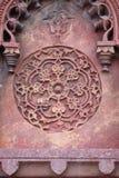 Πέτρινο σχέδιο σε έναν τοίχο στο κόκκινο οχυρό, Agra Στοκ Εικόνες