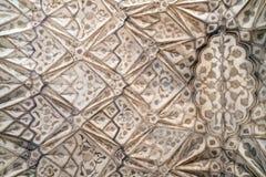 Πέτρινο σχέδιο σε έναν τοίχο στο κόκκινο οχυρό, Agra Στοκ Φωτογραφίες