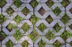 Πέτρινο τούβλο στο έδαφος με τη χλόη Στοκ εικόνα με δικαίωμα ελεύθερης χρήσης