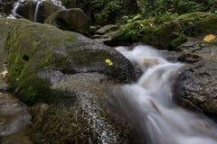 Πέφτοντας απότομα ρεύμα νερού στον υγρού και mossy βράχο καταρρακτών Kanching, που βρίσκονται στη Μαλαισία, που περιβάλλεται από  Στοκ φωτογραφία με δικαίωμα ελεύθερης χρήσης