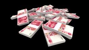 Πέφτοντας 100 κινεζικά πακέτα Yuan (CNY) (με τη μεταλλίνη) απεικόνιση αποθεμάτων