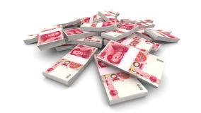 Πέφτοντας 100 κινεζικά πακέτα Yuan (CNY) - ρεαλιστικά ελεύθερη απεικόνιση δικαιώματος