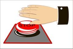 πίεση χεριών έκτακτης ανάγκης κουμπιών Στοκ φωτογραφία με δικαίωμα ελεύθερης χρήσης