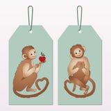 Πίθηκοι κινούμενων σχεδίων ετικετών Στοκ εικόνα με δικαίωμα ελεύθερης χρήσης