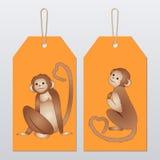 Πίθηκοι κινούμενων σχεδίων ετικετών Στοκ Εικόνα