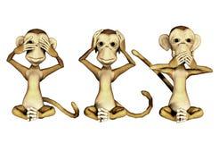πίθηκοι τρία ελεύθερη απεικόνιση δικαιώματος