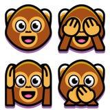 Πίθηκοι Emoji καθορισμένοι απομονωμένοι στο άσπρο υπόβαθρο Στοκ Φωτογραφίες