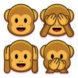 Πίθηκοι Emoji καθορισμένοι απομονωμένοι στο άσπρο υπόβαθρο Στοκ εικόνες με δικαίωμα ελεύθερης χρήσης